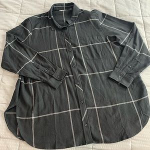 Athleta Plaid Black Window Pane Flannel Sz XL